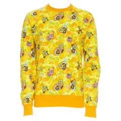 new BATHING APE BAPE SPONGEBOB SQUAREPANTS yellow camo print pullover sweater L