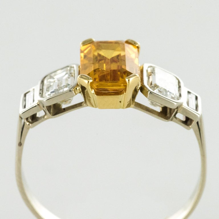 Art Deco Style Yellow Ceylon Sapphire Diamonds Ring For Sale 6