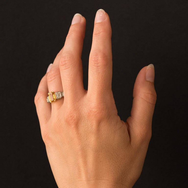 Art Deco Style Yellow Ceylon Sapphire Diamonds Ring For Sale 7