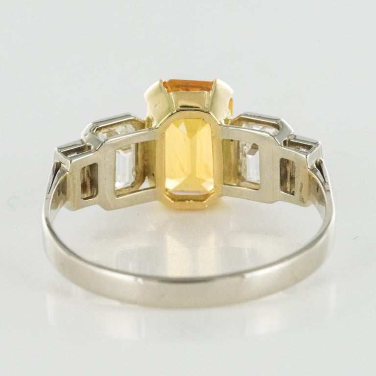 Art Deco Style Yellow Ceylon Sapphire Diamonds Ring For Sale 8