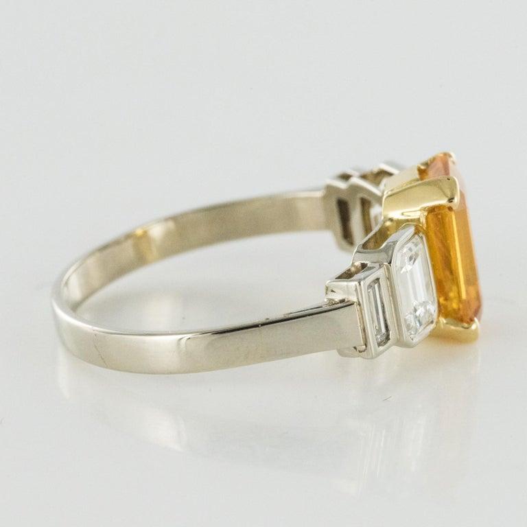 Art Deco Style Yellow Ceylon Sapphire Diamonds Ring For Sale 9
