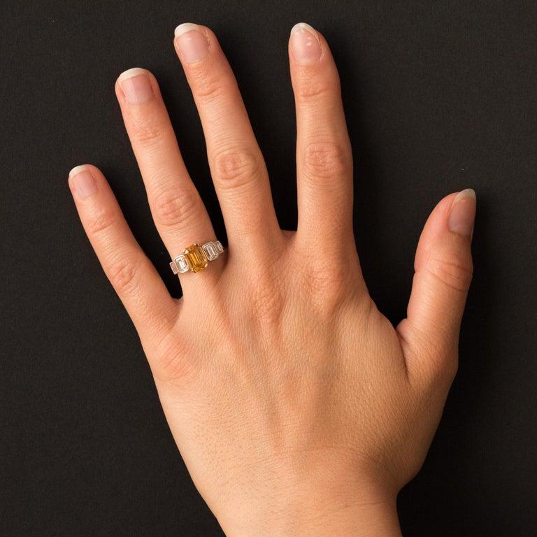 Art Deco Style Yellow Ceylon Sapphire Diamonds Ring For Sale 10