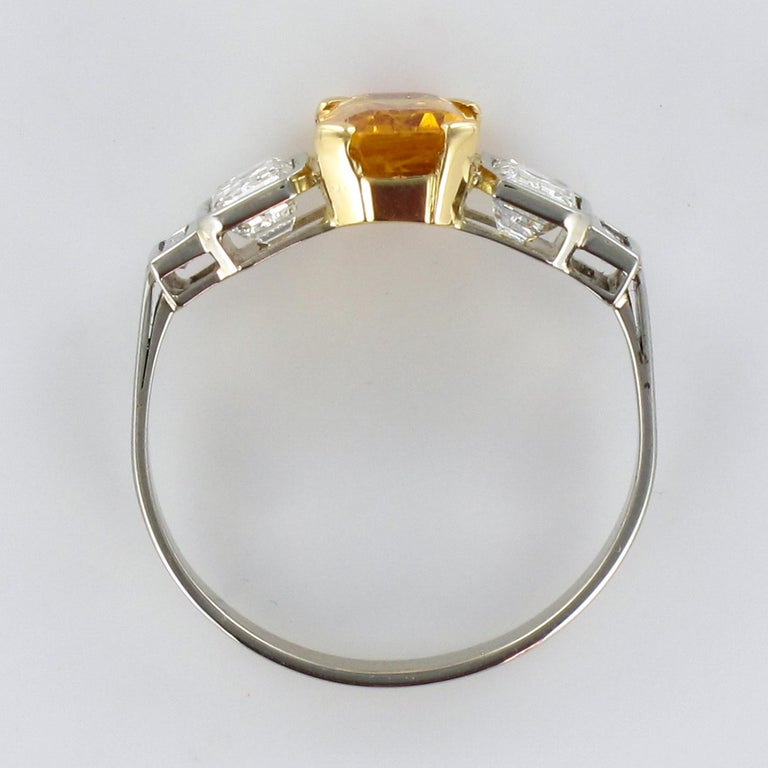 Art Deco Style Yellow Ceylon Sapphire Diamonds Ring For Sale 11