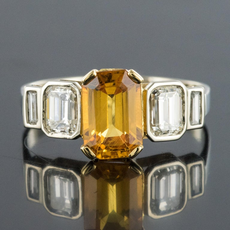Art Deco Style Yellow Ceylon Sapphire Diamonds Ring In New Condition For Sale In Poitiers, FR