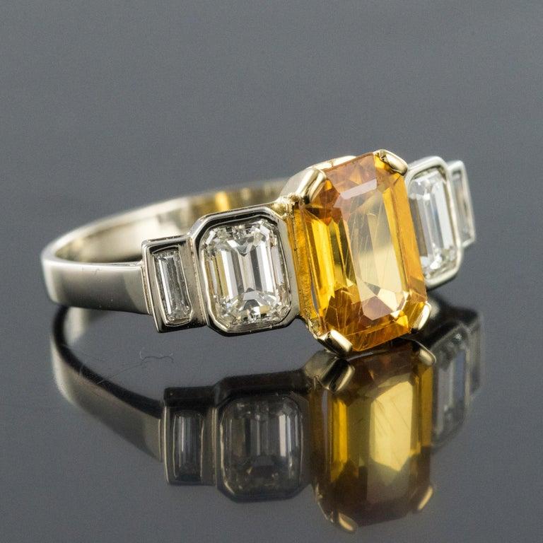 Women's Art Deco Style Yellow Ceylon Sapphire Diamonds Ring For Sale