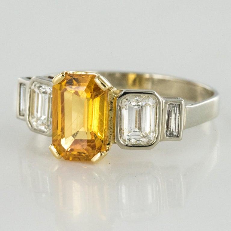 Art Deco Style Yellow Ceylon Sapphire Diamonds Ring For Sale 2