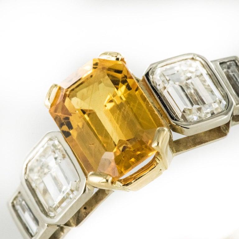 Art Deco Style Yellow Ceylon Sapphire Diamonds Ring For Sale 3