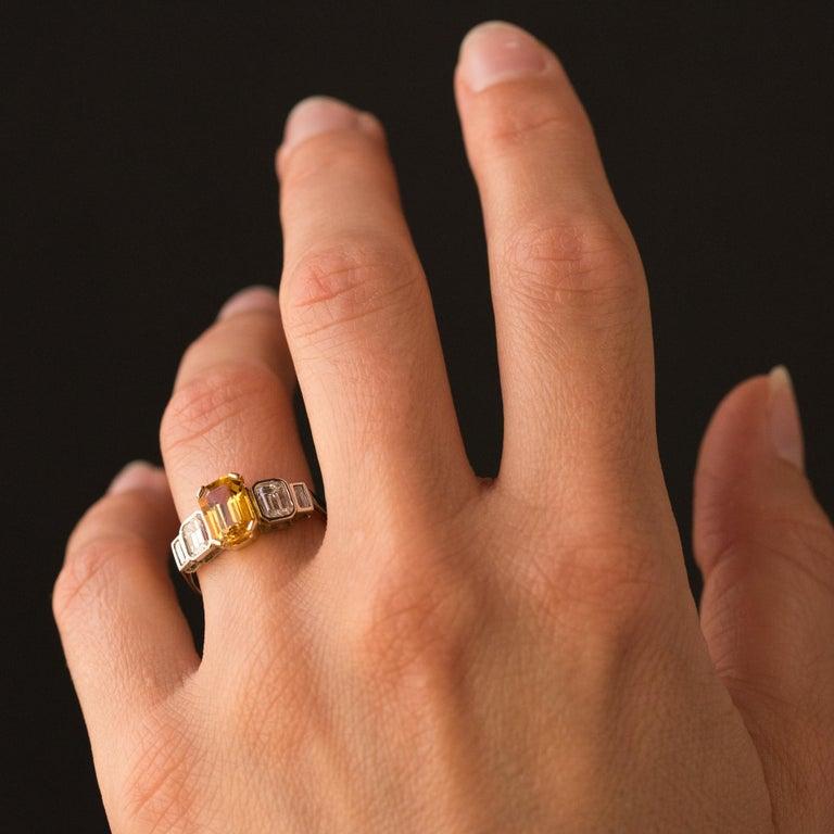 Art Deco Style Yellow Ceylon Sapphire Diamonds Ring For Sale 4