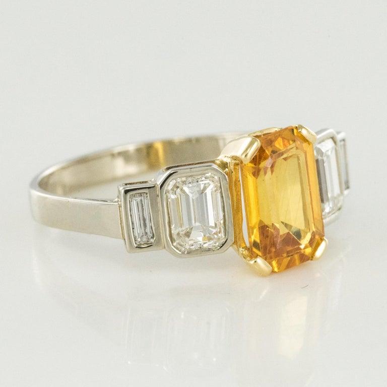 Art Deco Style Yellow Ceylon Sapphire Diamonds Ring For Sale 5