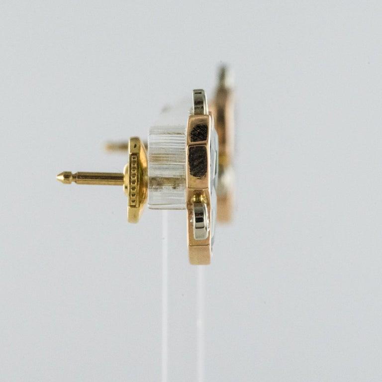 Baume Creation Tourmaline Diamonds 18 Karat Yellow Gold Stud Earrings For Sale 5
