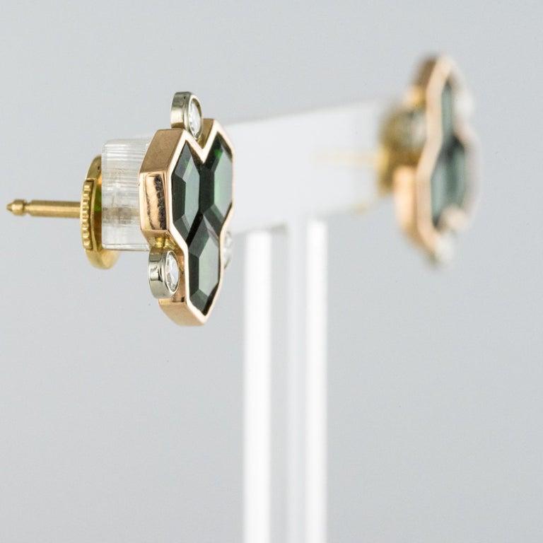 Contemporary Baume Creation Tourmaline Diamonds 18 Karat Yellow Gold Stud Earrings For Sale