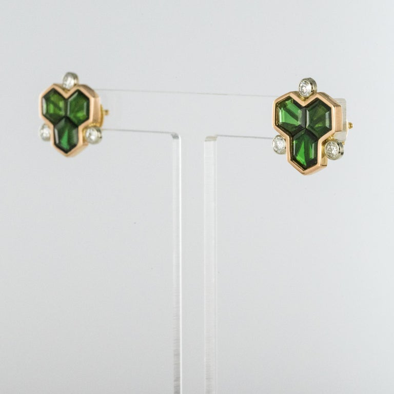 Baume Creation Tourmaline Diamonds 18 Karat Yellow Gold Stud Earrings In New Condition For Sale In Poitiers, FR