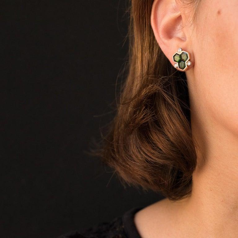 Women's Baume Creation Tourmaline Diamonds 18 Karat Yellow Gold Stud Earrings For Sale