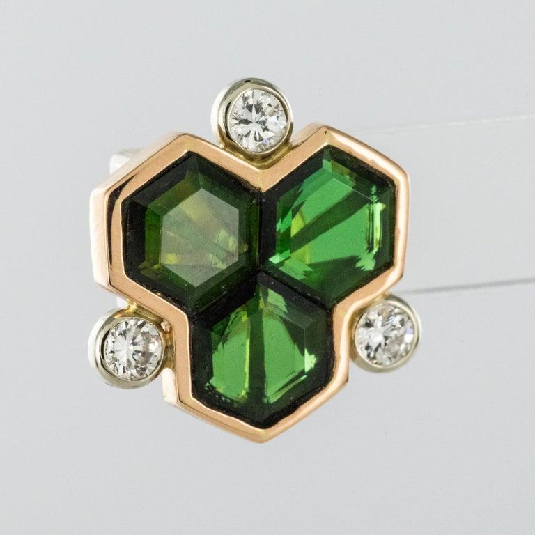 Baume Creation Tourmaline Diamonds 18 Karat Yellow Gold Stud Earrings For Sale 1