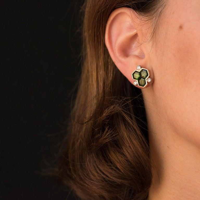 Baume Creation Tourmaline Diamonds 18 Karat Yellow Gold Stud Earrings For Sale 3