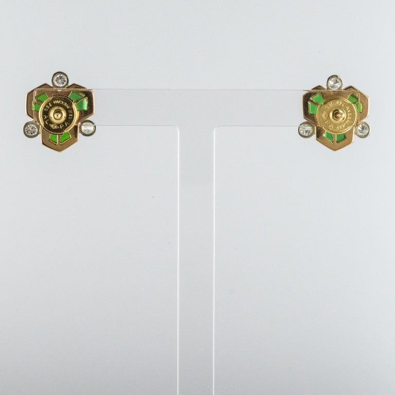 Baume Creation Tourmaline Diamonds 18 Karat Yellow Gold Stud Earrings For Sale 4