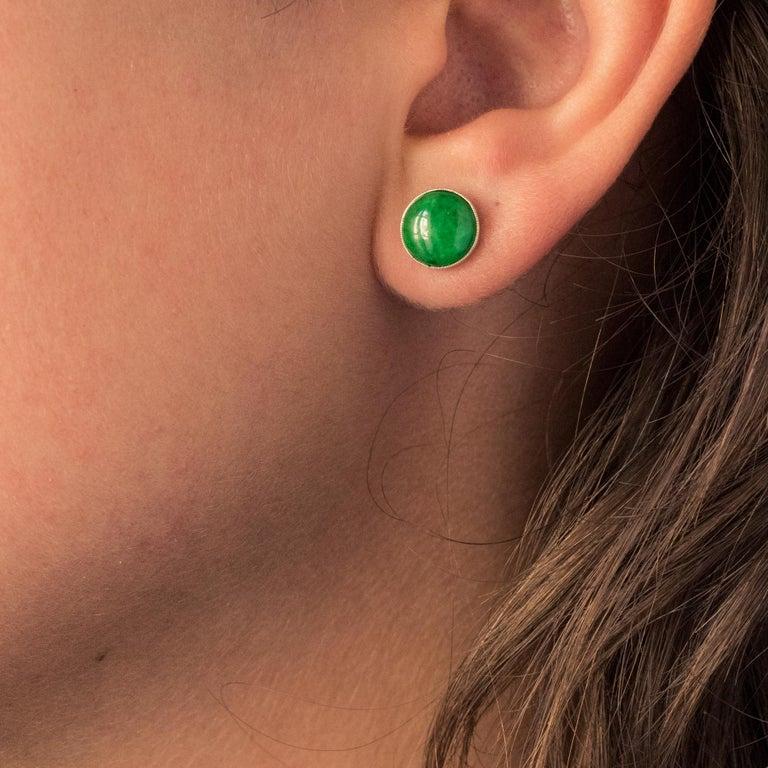Baume Jade Diamonds 18 Karat White Gold Dangle Earrings For Sale 12
