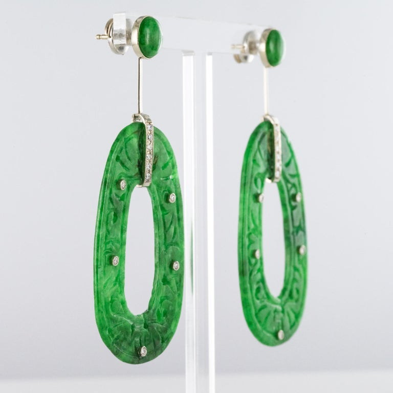 Baume Jade Diamonds 18 Karat White Gold Dangle Earrings In New Condition For Sale In Poitiers, FR