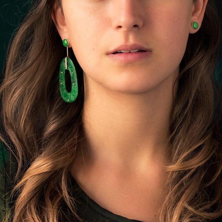 Women's Baume Jade Diamonds 18 Karat White Gold Dangle Earrings For Sale