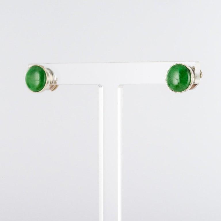 Baume Jade Diamonds 18 Karat White Gold Dangle Earrings For Sale 2