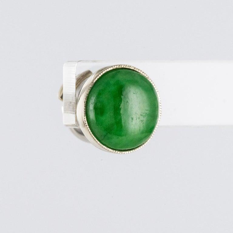 Baume Jade Diamonds 18 Karat White Gold Dangle Earrings For Sale 3