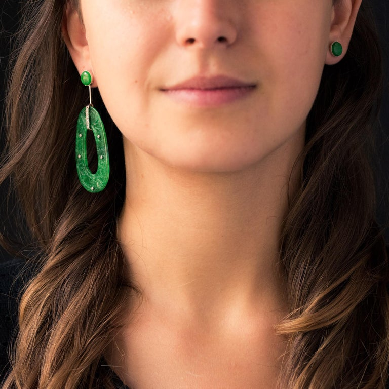 Baume Jade Diamonds 18 Karat White Gold Dangle Earrings For Sale 4
