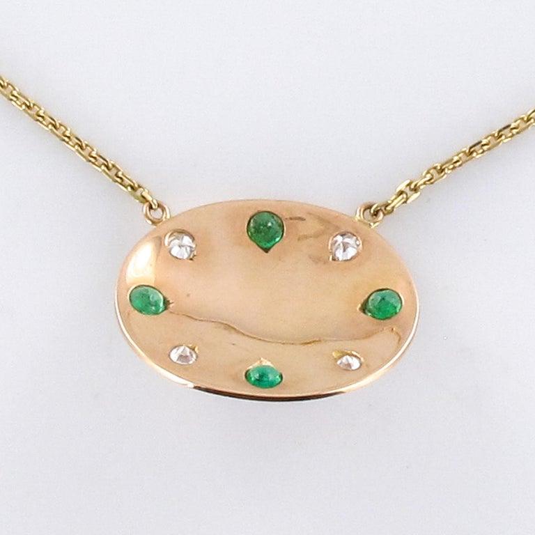 Baume Opal Emerald Diamond 18 Karat Yellow Gold Necklace For Sale 5