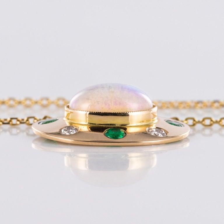 Baume Opal Emerald Diamond 18 Karat Yellow Gold Necklace For Sale 1