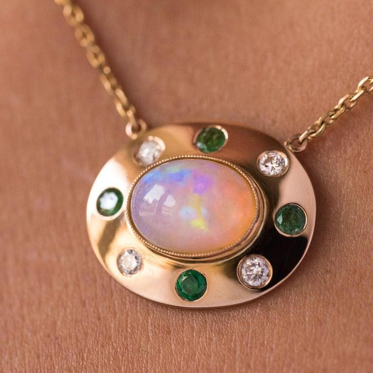Baume Opal Emerald Diamond 18 Karat Yellow Gold Necklace For Sale 2