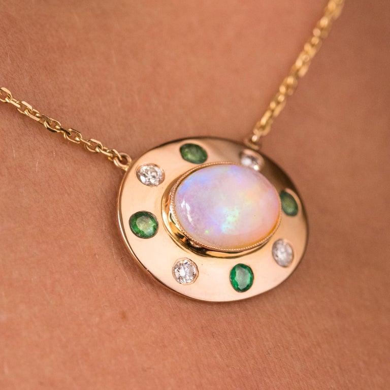 Baume Opal Emerald Diamond 18 Karat Yellow Gold Necklace For Sale 4