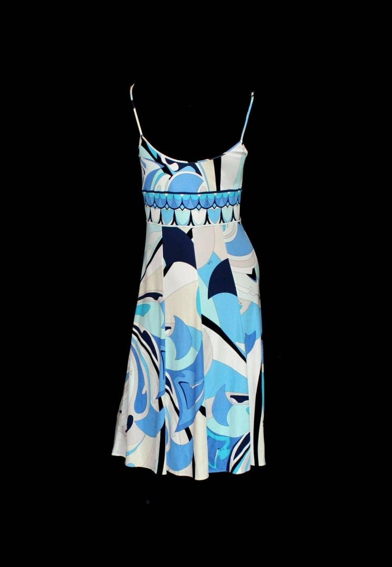 Blue NEW Beautiful Emilio Pucci Signature Print Silk Jersey Bow Tie Dress For Sale
