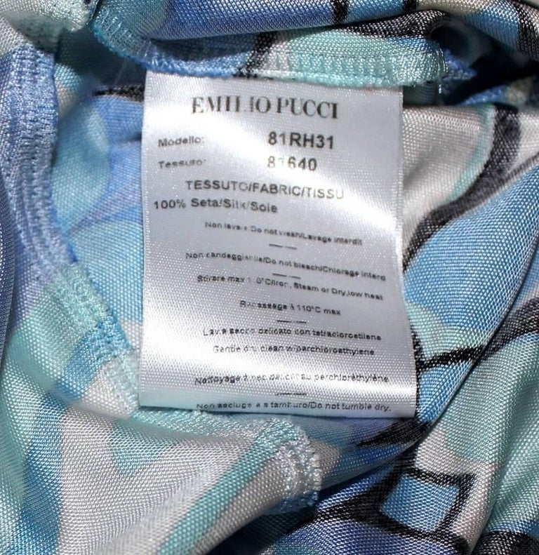 Women's NEW Beautiful Emilio Pucci Signature Print Silk Jersey Bow Tie Dress For Sale