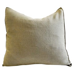 New Belgian Linen Accent Pillow Cover in Kaki Color