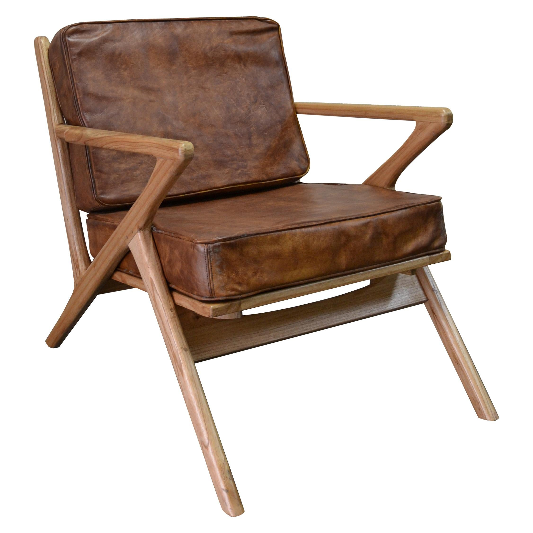 New Bentwood Armchair with Wood Seat and Back and Brown Skin Cushions