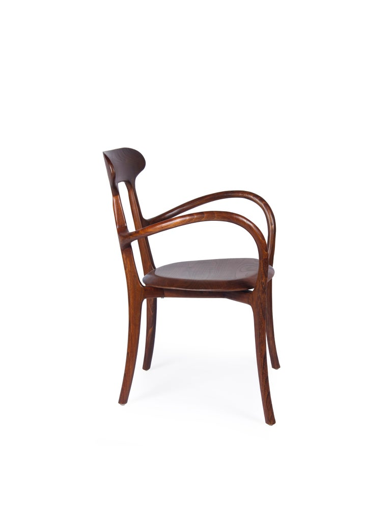Organic Modern New Bentwood Armchair with Wood Seat and Back For Sale
