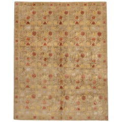 New Bilbao Transitional Spanish Design Beige and Red Wool-Silk Rug