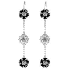 Black and White Sapphire Blossom Gentile Alternating Chandelier Earrings