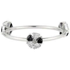 New Black and White Sapphire Triple Blossom Mixed Stone Bangle Bracelet