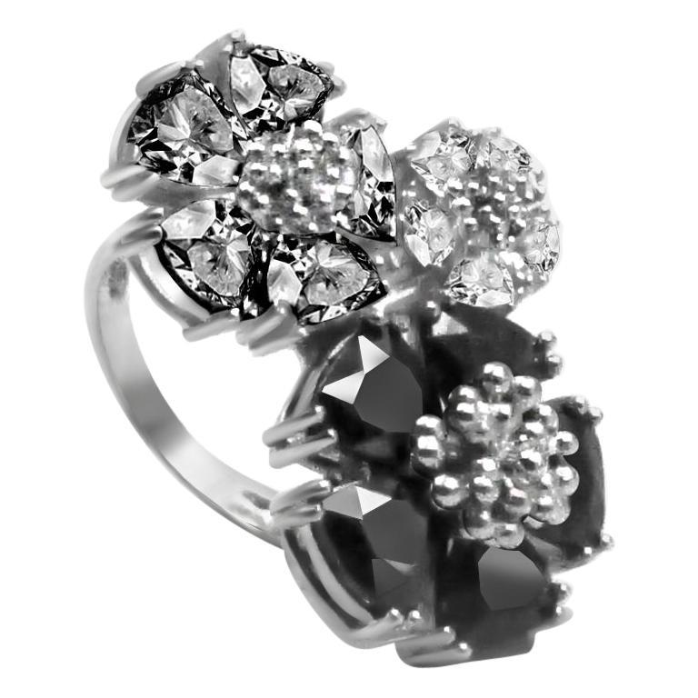 Black & Gray Spinel and White Topaz Trifecta Blossom Stone Ring