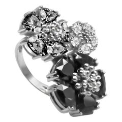 Black, Gray and White Sapphire Trifecta Blossom Stone Ring
