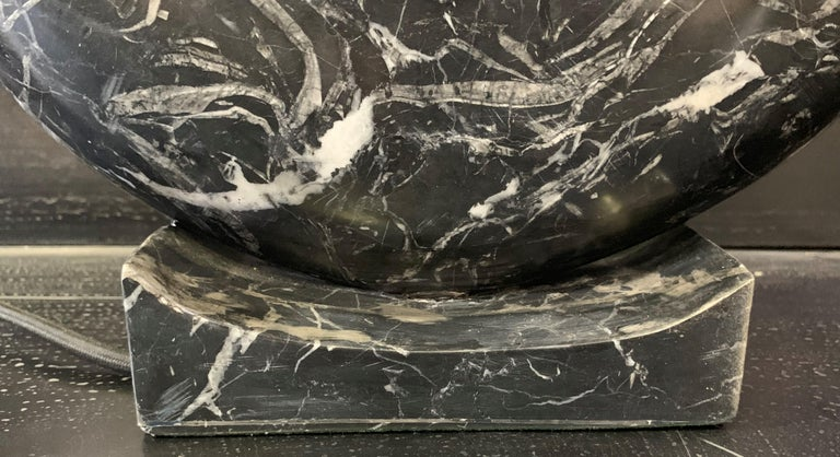 New Black Marble Table Lamp with Base For Sale 5