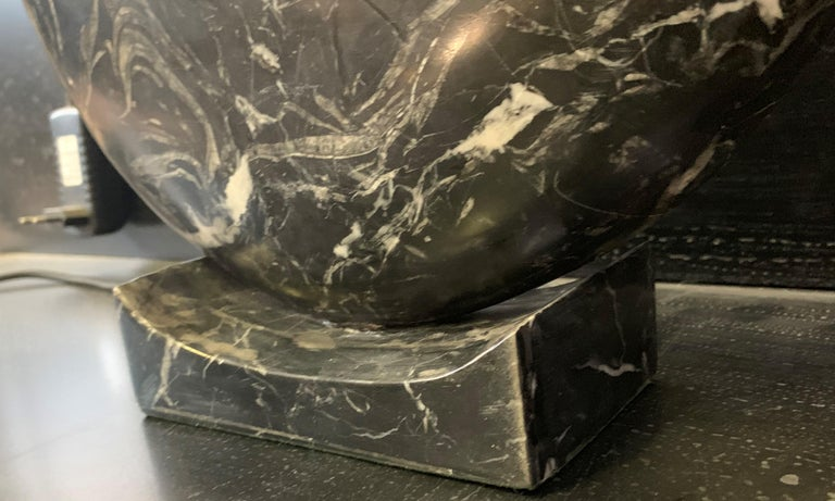 New Black Marble Table Lamp with Base For Sale 6