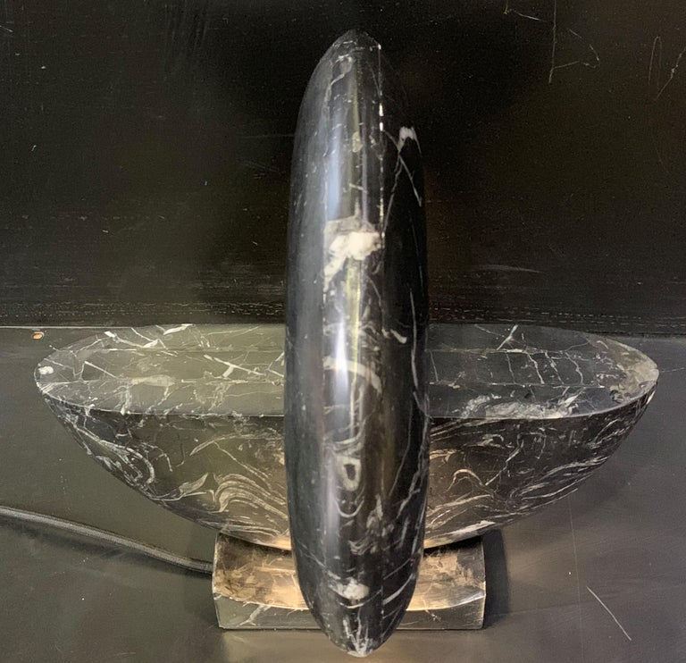 Spanish New Black Marble Table Lamp with Base For Sale