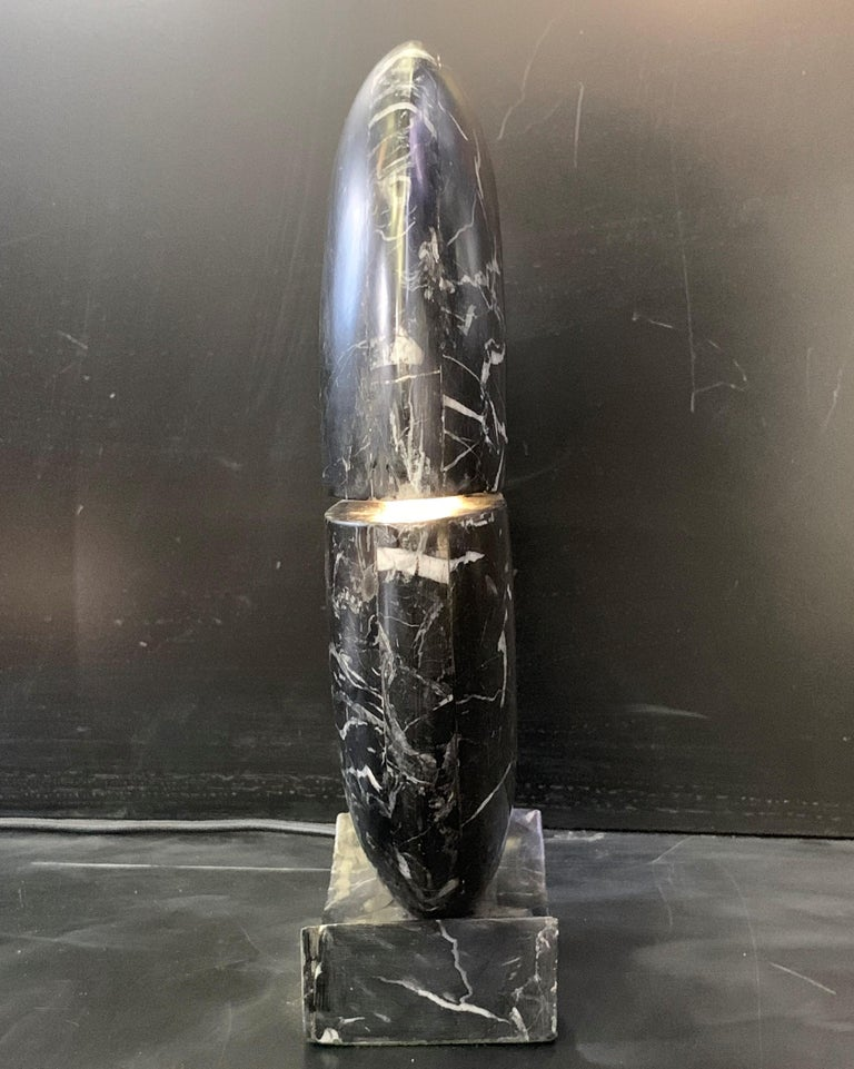 New Black Marble Table Lamp with Base For Sale 1