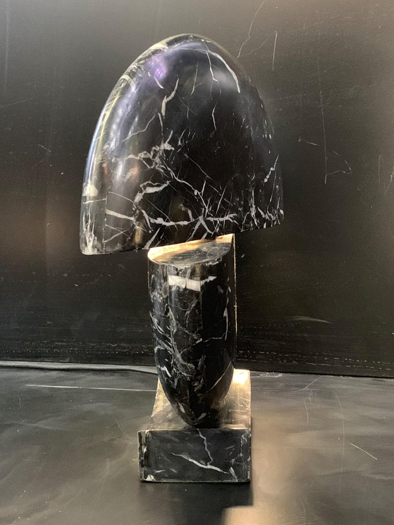 Contemporary New Black Marble Table Lamp with Base For Sale