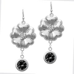 New Black Sapphire Blossom Circle Strong Dangles