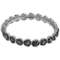 Black Sapphire Blossom Gemstone Wraparound Bracelet