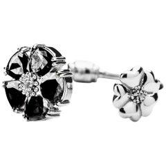 New Black Sapphire Blossom Large Mixed-Media Hinge Bracelet