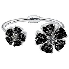 New Black Sapphire Blossom Large Mixed Stone Hinge Bracelet