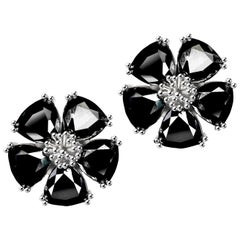 New Black Sapphire Blossom Large Stone Stud Earrings